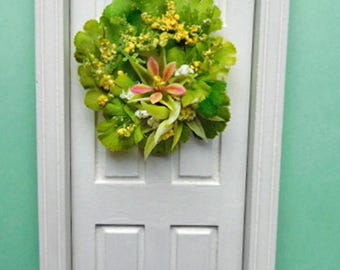 Colorful Lime Green Flower Wreath for One Inch Scale Dollhouse