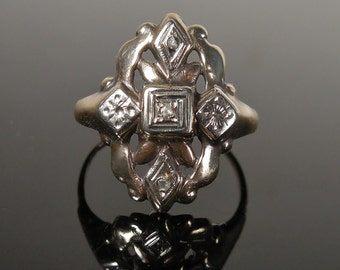 Art Deco 10k Gold Diamond Shield Ring (No. 1268)