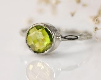 SALE - Stack Ring - Green Peridot Ring Silver - Stacking Ring - August Birthstone Ring - Sterling Silver Ring