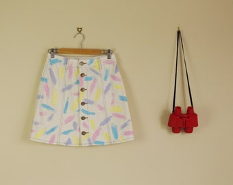 Vintage Altered Paint Party Skirt High Waist  Button front Summer 90s Pin Up Twin Peaks