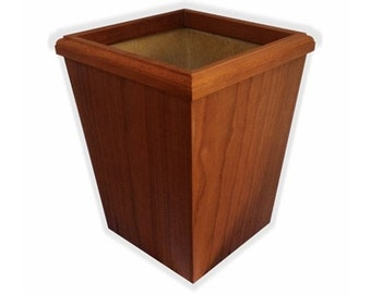 Wooden Wastebasket Cherry  Hand Made 7 Quart
