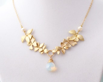 Gold Wild Orchid Necklace with Opalite, 14K Gold Filled Chain, Wedding Jewelry
