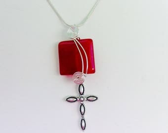 Christian Ruby Jade Gemstone and Cross Pendant Necklace Jewelry Acceessory, Christian Jewelry