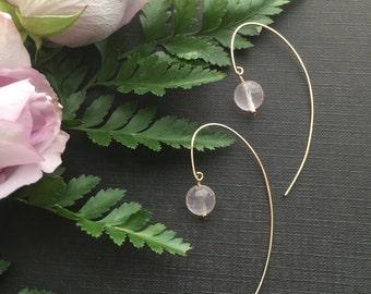 Rose Quartz Earrings, Blush Pink Earrings, Rose Quartz Jewelry, Bridal Earrings, Bridesmaid Jewelry, Spring Jewelry