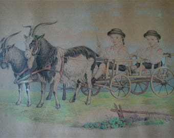 Victorian Art, Charcoal Pencil Drawing, Boys in Goat Cart