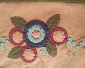 Vintage Felt Table Doilies|Appliqued Flowers|Green and Tan Felt Table Runners|Flowers Hand Sewn|Blue and Dark Pink Felt Flowers Appliqued
