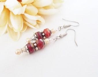 Red Boho Earrings, Dark Red Beaded Earrings, Bohemian Dangle Earrings, Brick Red Gypsy Earrings, Tribal Earrings, Girlfriend Gift for Her
