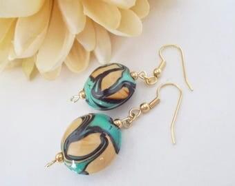 Green Turquoise Lampwork Earrings, Birthday Gift for Mother, Glass Drop Earrings, Boho Earrings, Gift for Her, Clip On, Mint Blue Earrings
