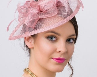 "Muave Pink Fascinator - ""Penny"" Mesh Hat Fascinator with Mesh Ribbons and Pink Feathers"