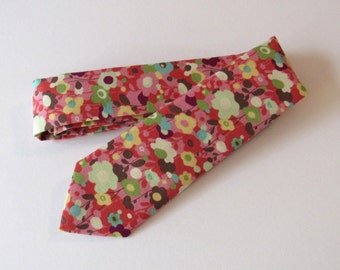 Mod Floral Skinny Tie in Multi Color // Cotton Necktie