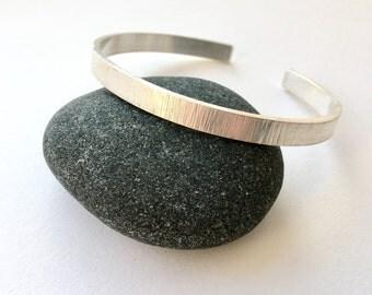 Hammered Texture Silver Open Bracelet Cuff - rectangular silver mens oval chunky bracelet - Gift for Him - Matte Bangle for Men or Women