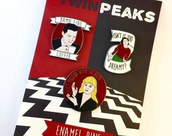 Twin Peaks enamel pin set // Dale Cooper, Laura Palmer, Audrey Horne