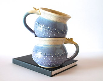 MADE TO ORDER...One 20 oz. Handmade Pottery Coffee Mug, Round and Dotty, In choice of Lavender or Green Glaze