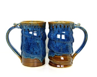 Beer Mug, Beer Stein, Tankard, Tall Blue Coffee Mug, Blue Pottery, Handmade Wheel Thrown by RiverStone Pottery