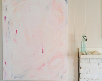 Baby I'm Amazed Original Abstract Painting, OOAK Acrylic Painting by Pamela J. Bates, Large Blush Modern Bohmian Painting