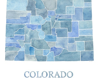 Colorado Counties watercolor map