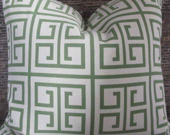 3BMod Designer Pillow Cover Lumbar, 16 x 16, 18 x 18, 20 x 20, 22 x 22, Euro -Greek Key Green and Ivory