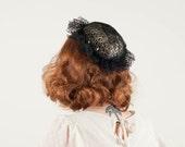BLACK FRIDAY SALE / 50% Off Sale / vintage 1980s hat / fascinator / Glitz