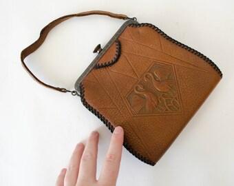 1920s vintage purse / antique tooled leather purse / Art Nouveau purse