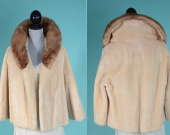 Vintage 1950s Bridal Fur Coat - Oyster Sheared Beaver Mink Collar - Wedding Fashions 1960s