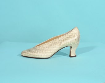 Vintage 1980s Gold Wedding Shoes - D'Rossana Woven Leather - Bridal Fashions Size 7