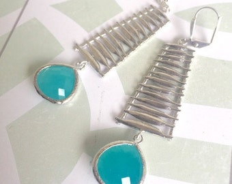 Turquoise and Silver Statement Earrings.  Dangle Earrings with Silver Washboard Turquoise Jewelry. Stones.  Jewelry Gift.  Dangle Earrings.