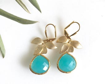 Gold Orchid and Turquoise Teardrop Drop Earrings. Turquoise Dangle Earrings. Bridesmaid Earrings. Jewelry Gift for Her.  Christmas Gift.