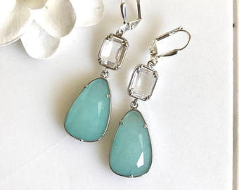 SALE - Blue Stone and Clear Crystal Dangle Earrings in Silver.