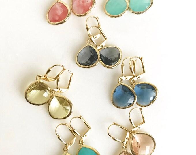 Simple Drop Earrings in Gold - Choose Color. Dangle Earrings. Christmas Gift. Simple Gold Earrings.  Drop Earrings. Stocking Stuffer Gift.