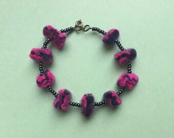 Felt beaded bracelet, felted bracelet, navy bracelet, felt bracelet, pink bracelet, blue bracelet, quirky jewellery, beaded bracelet