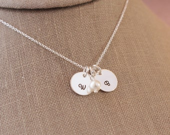 Two Personalized Initial Hand Stamped Disc Tags with a Freshwater Pearl Necklace