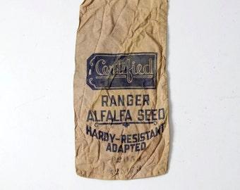 vintage farm sack, alfalfa seed bag