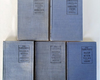 5 Hardbacks Four 1908 And One 1909  Lake English Classics Emerson Shakspere (Shakespeare) Macaulay Milton & Longfellow