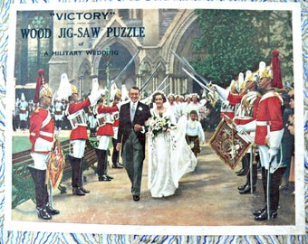 """Vintage G.J. Hayter Wood Victory Jigsaw Puzzle - """"A Military Wedding"""" - Made in England - Rare- 300 Pieces"""