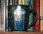 """Doctor Who """"All of time and space"""" Medium, matte black mug with cream interior - TARDIS in space - Stars, galaxy"""