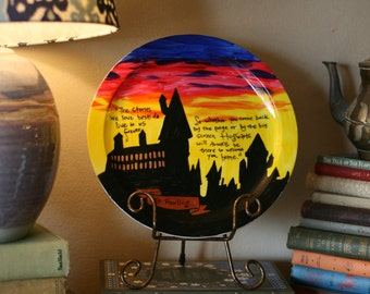 "Hogwarts Decorative Platter - Large dinner plate - ""The stories we love best do live in us forever"" - Hand painted, Decorative"
