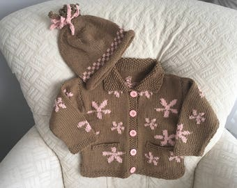 Pink Blossom Cardigan and Hat