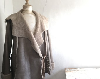 SALE Taupe Beige Sheepskin Shearling Jacket with Woven Belt  and Decorative Knotting - Ready to Ship as seen.