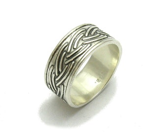 Sterling silver ring solid 925 wide band pendant