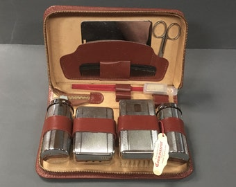 Vintage Mens Chrome Grooming Kit Gentleman's Travel Vanity 1960s Connoisseur