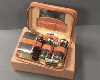 Unused Vintage Mens Chrome Grooming Kit Gentleman's Travel Vanity 1960s Connoisseur in Original Box