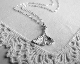 Sterling Silver Gingko Leaf Necklace Gingko Necklace Rustic Jewelry Nature Inspired Small Leaf Necklace Sterling Silver Ginko Necklace