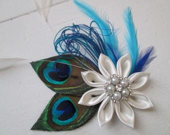 Royal Blue & Turquoise Wedding Hair Flower, Teal Peacock Head Piece, Kanzashi Hair Clip Fascinator, Bridal Birdcage Veil, Something Blue