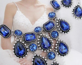 Deep Sapphire White Pearl Wedding Necklace Great Bridal Wedding Jewelry Pageant Jewelry Bridal Statement Necklace Vintage Style