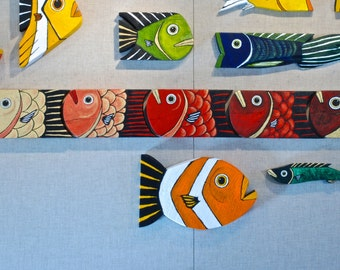 Reclaimed Wood Fish Six-Pack Red and Gold Line of Folk Art
