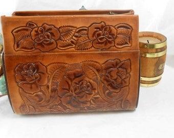 Vintage Tooled leather handbag Leather purse Hand Tooled Leather Hand Bag Retro Hippie Southwest style rustic Texas country western handbag