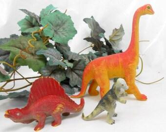 Vintage Spinosaurus Pachycephalosaurus Argentinosaurus plastic dinosaurs hard plastic toys for big guys man cave masculine office decor