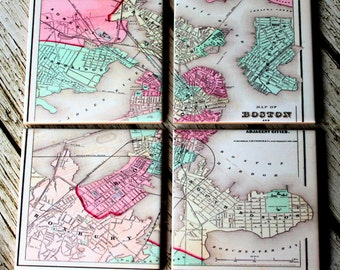 Map Coasters_Boston Map_Custom Travel Gifts_Hostess Gift_Vintage Map_Personalized Coaster Set_Under 50_Housewarming Moving Gift_For Him