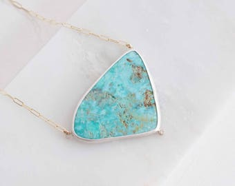 Triangular Skyline Turquoise + Moissanite Accent Necklace | Sterling Silver, 14k Gold Fill + 14k Gold | One of a Kind