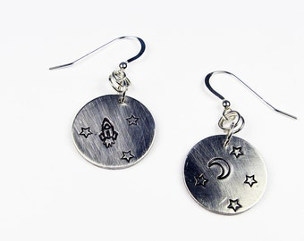 Moon and Star Earrings with Rocket Ship, Stars, and Crescent Moon (Astronomy Jewelry or Science Fiction Fan Gift)